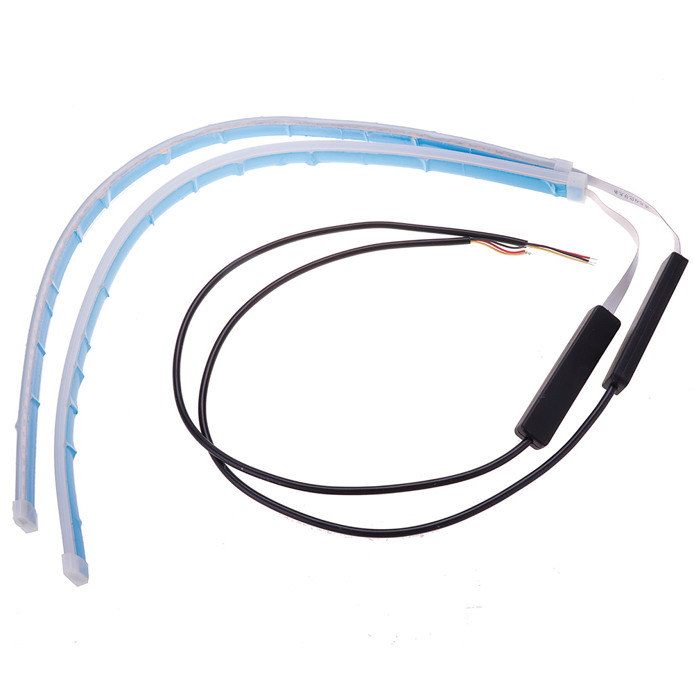 2Pcs 45cm FlowingCar Soft Tube LED Strip DRL Ultra Thin Turn Signal Lamp Daytime Running Strip Double Color фото