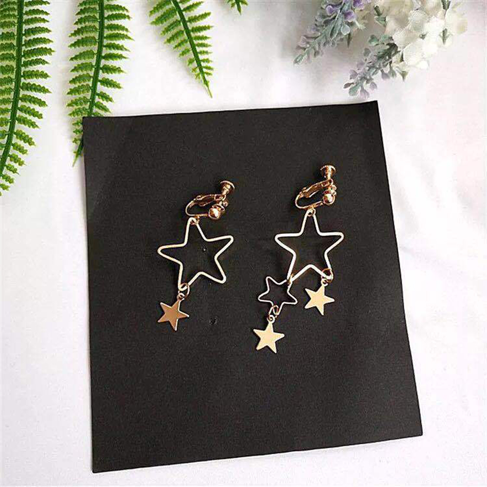 Simple Fresh Korean Style Hollow Asymmetric Star Earrings Female Elegant Jewelry Ear Nail фото