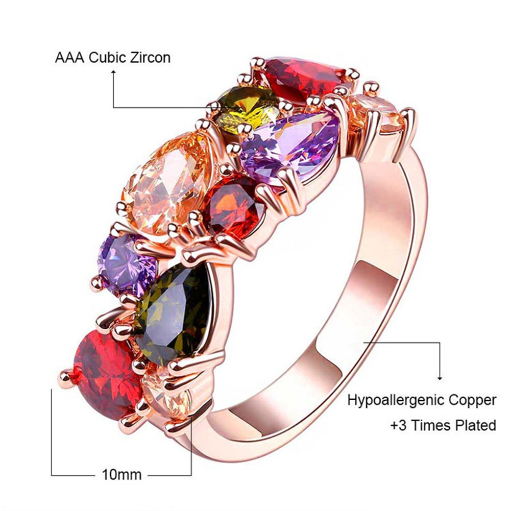 Newest Trendy Rose Gold Color AAA Cubic Zircon Wedding Rings Jewelry For Women Gift Party фото