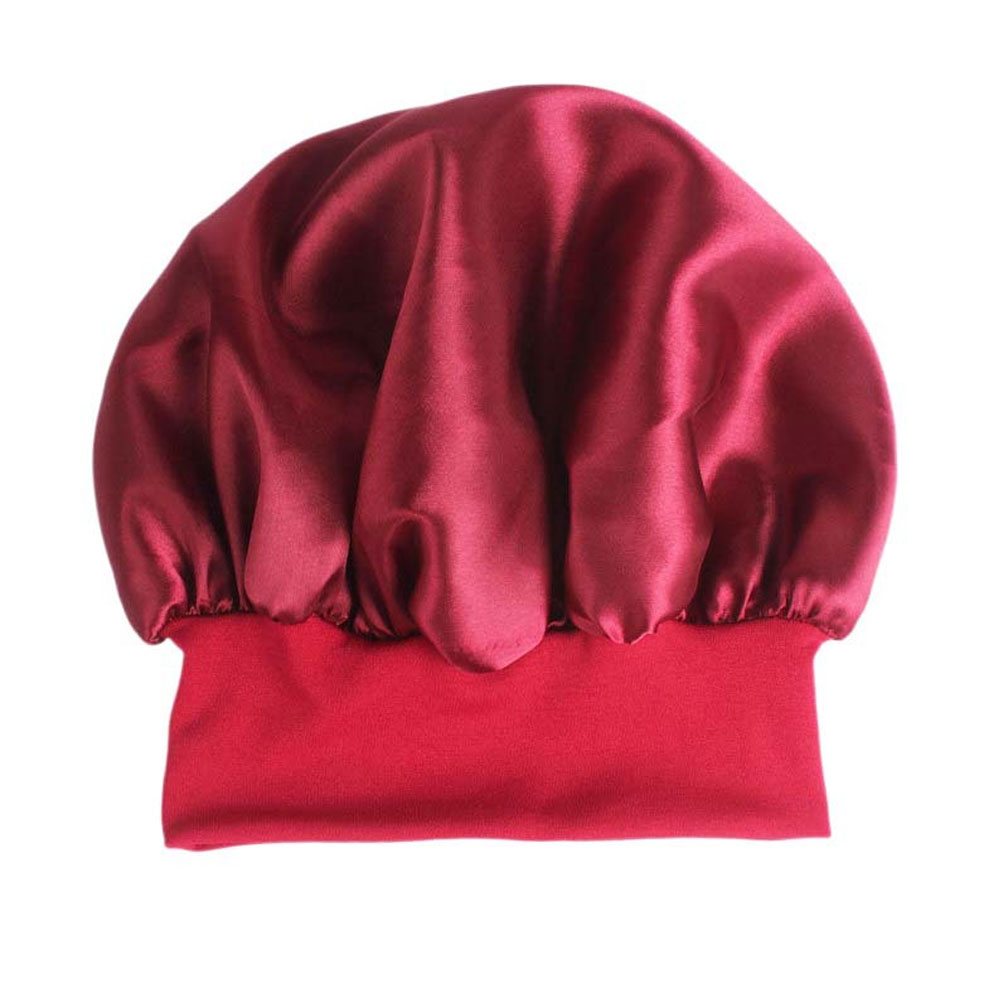 Pure Color Silk Satin Hat Night Sleep Cap Hair Care Beauty Bonnet Hat Wide Side Elastic Band фото