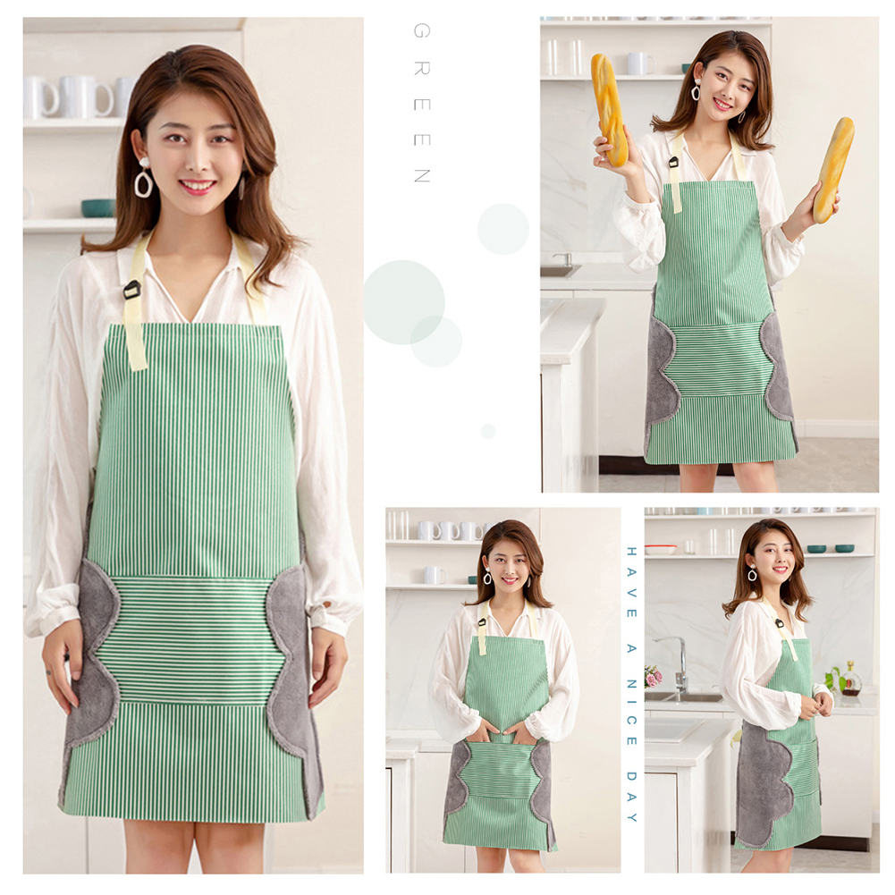 Fashion Waterproof Oilproof Apron for Women with Hand Dry Patch Kitchen Cooking Aprons Coffee Shop Barber Working Apron фото