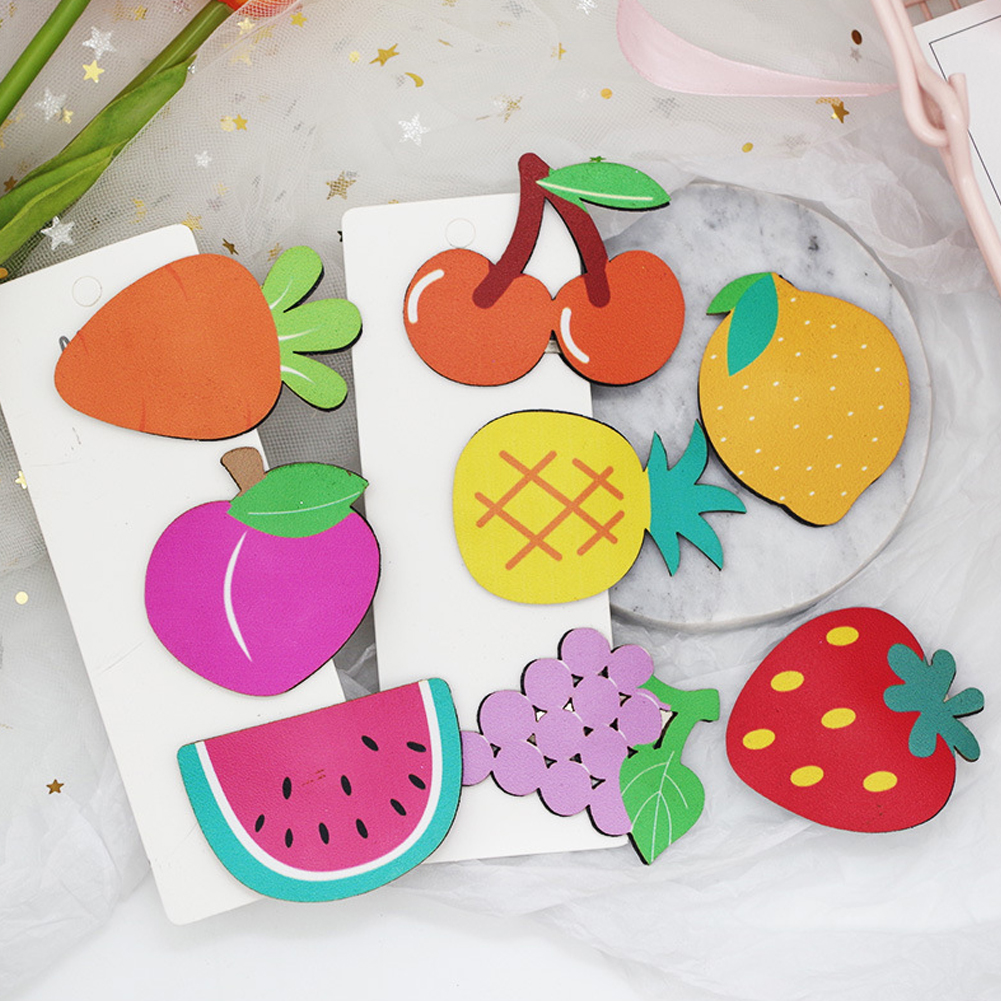 1PCS New Fashion Cute Summer Hairpins Cartoon Leather Fruit Hair Clips Children And Girls фото