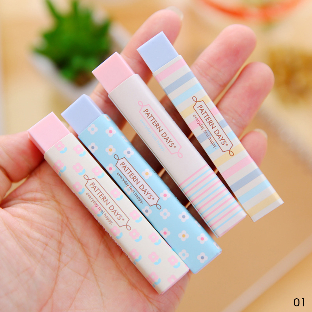 Stationery Rectangle 2B Pencil Rubber Eraser Student Gift Solid Color Soft Eraser Office School Supply