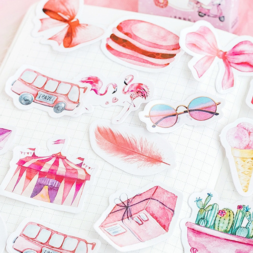 46Pcs/Box Leaves Stamp Decorative Stickers DIY Scrapbooking Paper Diary Album Computer Notebook Decoration