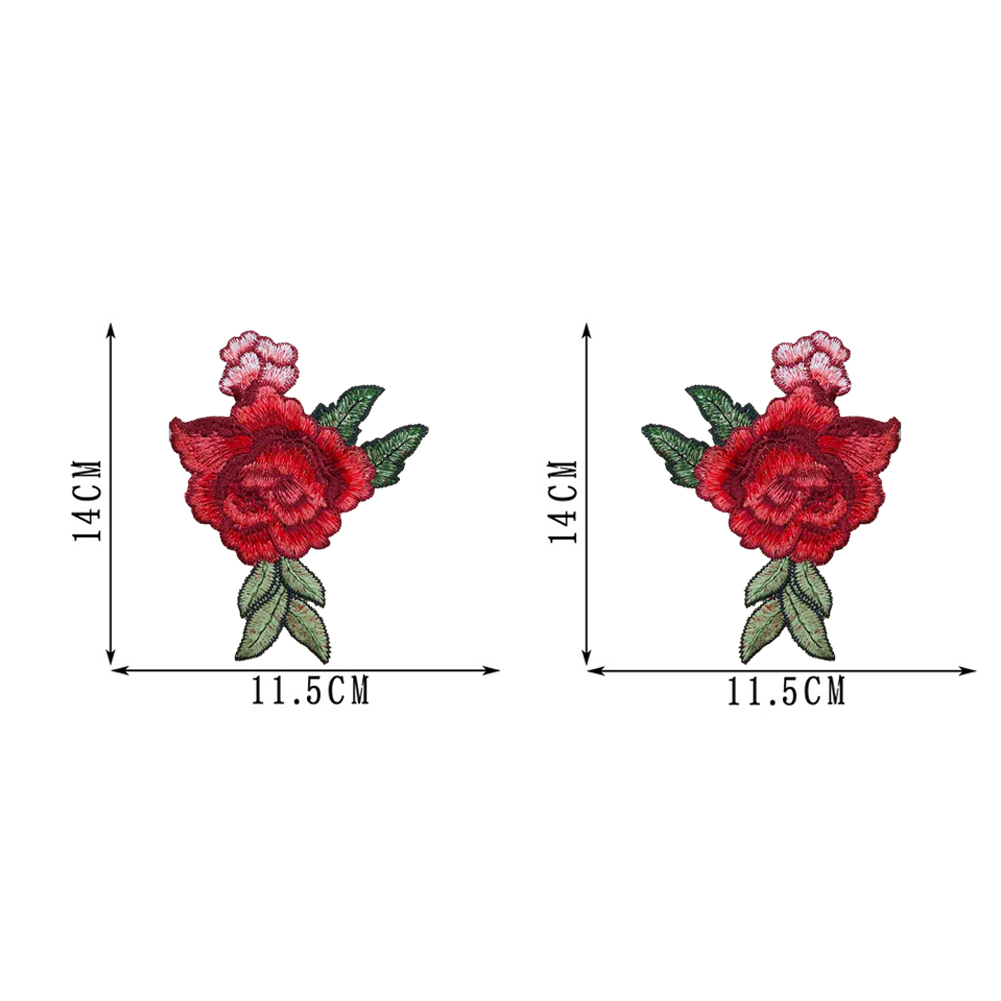 1 Pair Roses Flowers Embroidery Iron On Patches Sewn Applique Embroidered DIY Clothes фото