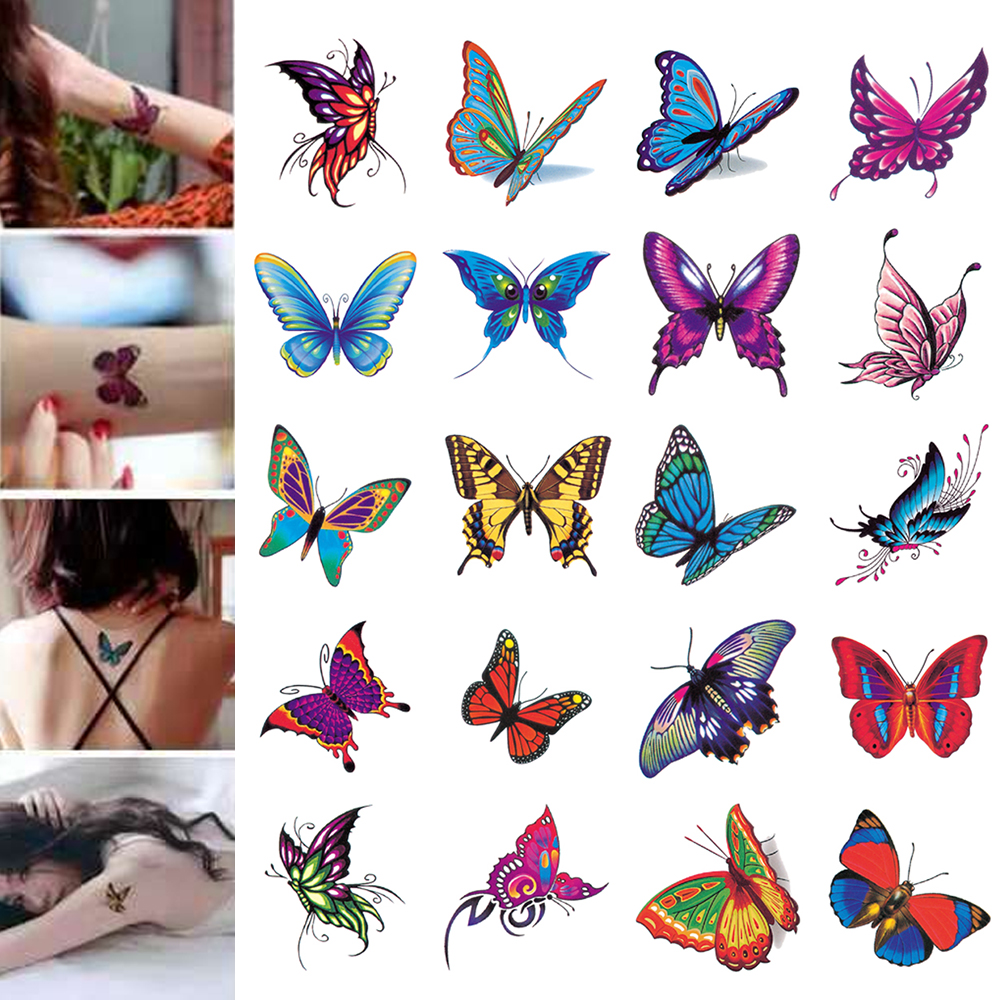 30PCS New Fashion Butterfly Temporary Tattoo Stickers Fake Flower For Women Hand