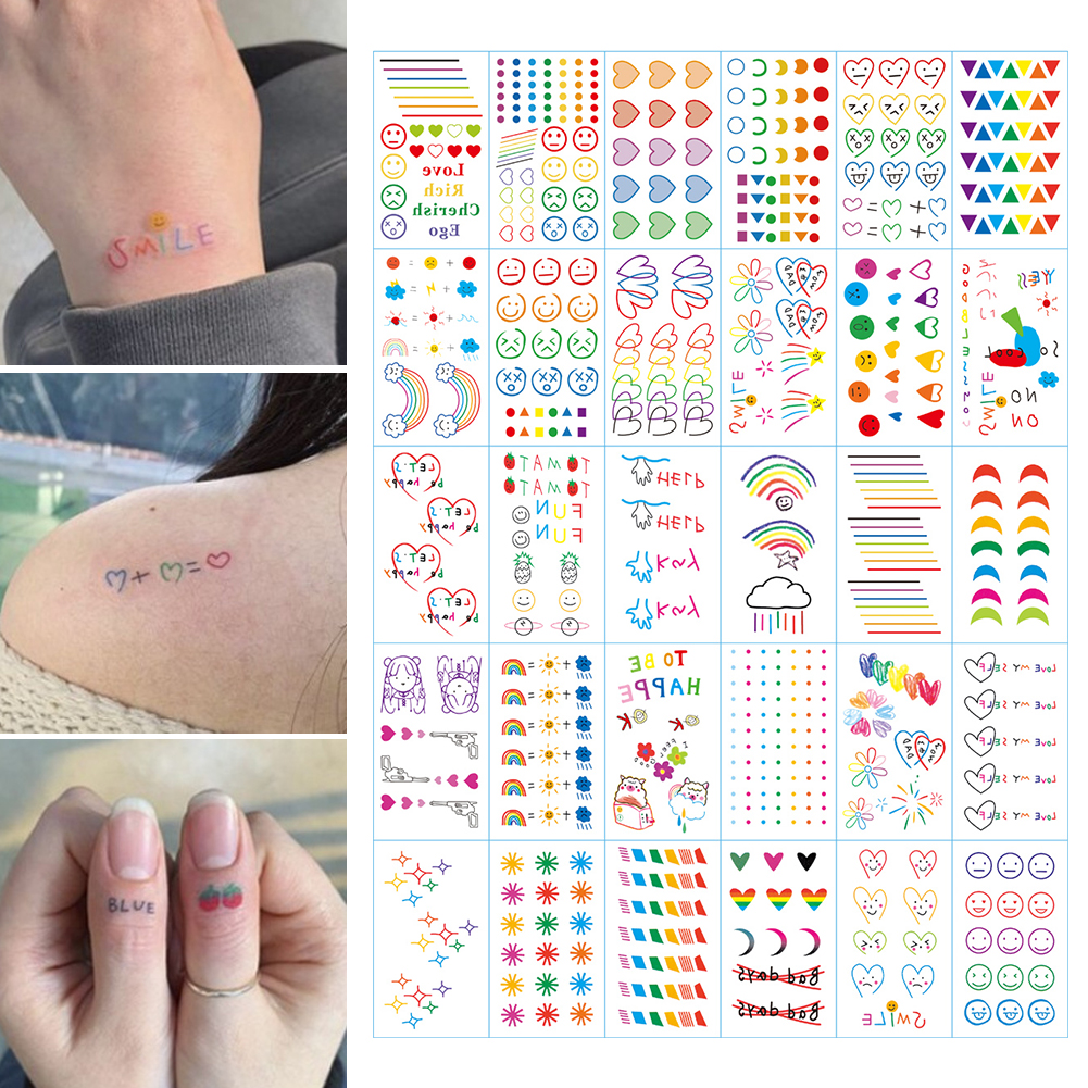 30PCS New Fashion Colorful Tattoo Sticker Rainbow Smiley Cute Love Heart Bracelet Bear фото