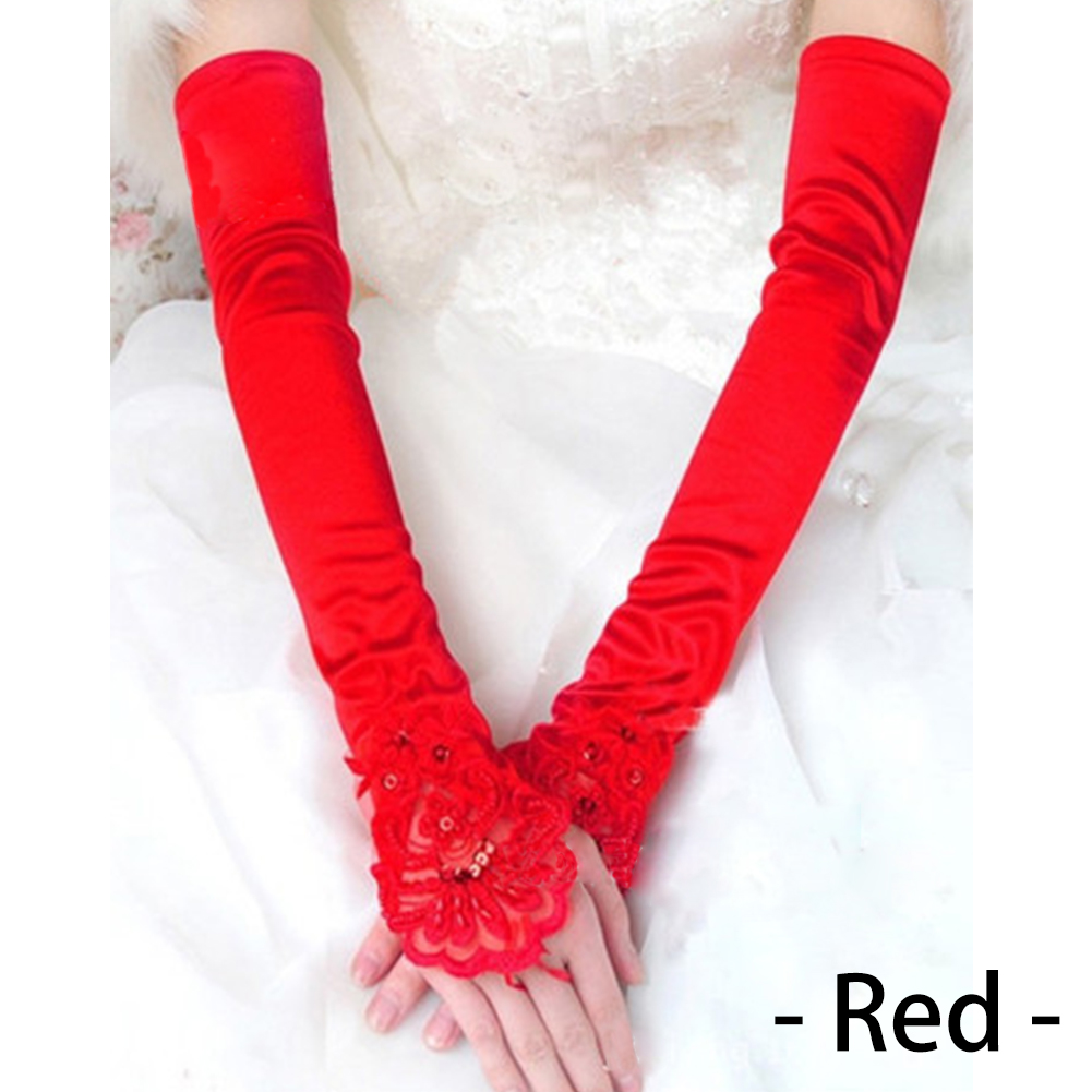 48cm Women Elegant Lace Satin Embroider Long Bridal Fingerless Gloves Female Prom Feast Mitt Party Wedding Accessories фото
