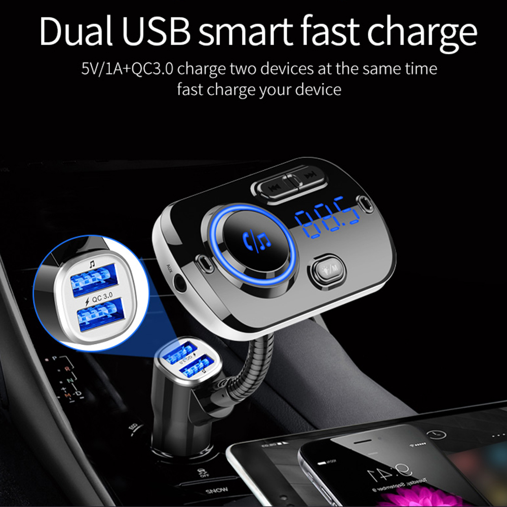 Bluetooth In-Car Wireless 5.0 FM Transmitter MP3 Radio Adapter Car Hands-Free Calling Kit 2 USB Charger LED Light фото