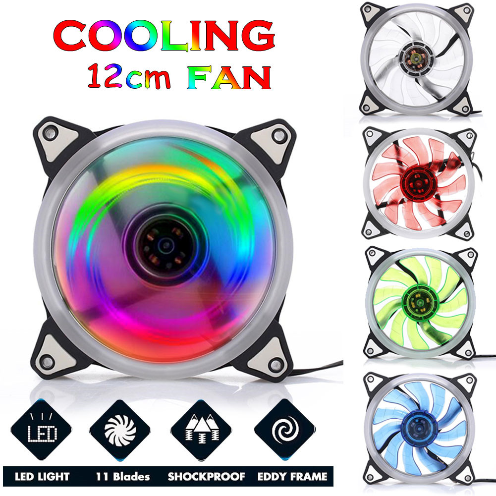 120mm RGB Case Circle Cooling 5 Colors Double Ring CPU LED Fan for Computer Cooler Radiator Fan фото