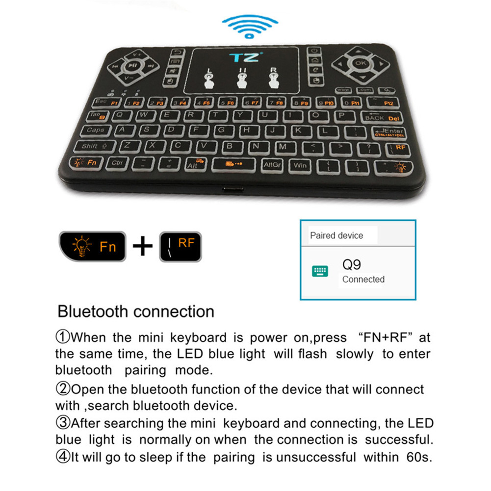 Q9s Bluetooth Wireless Mini Keyboard Colorful Backlit with Touchpad Q9 Air Mouse Remote Control For Android TV Box Tablet фото