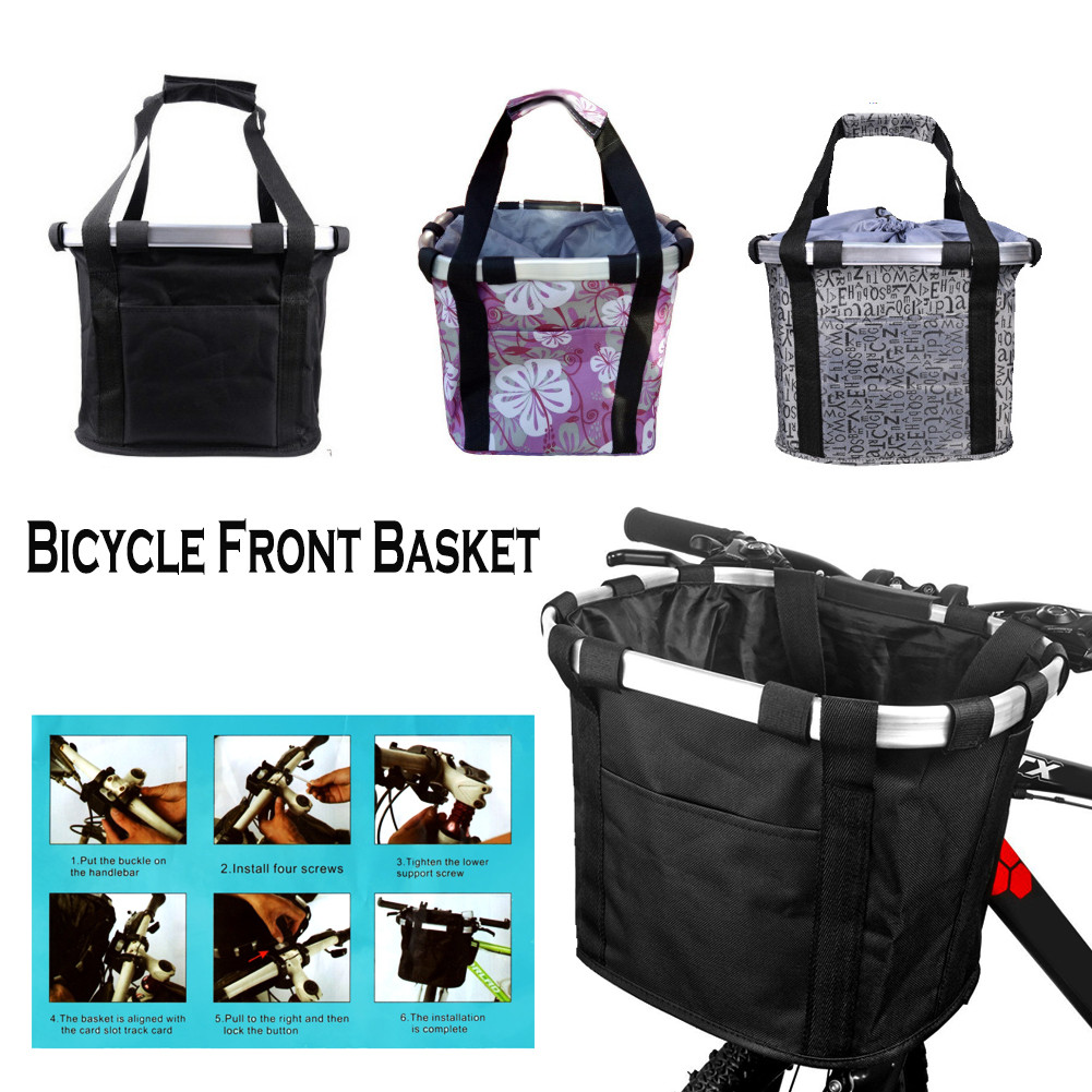 Bicycle Front Basket Waterproof Removable Folding Oxford Cloth Aluminum Frame Bicycle Basket фото