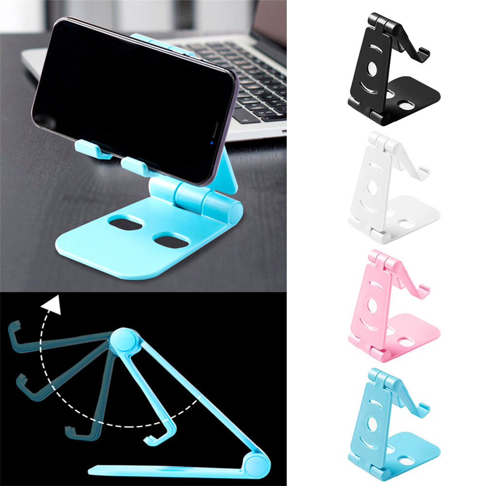 Universal Double Foldable Cell Phone Desk Stand Holder Mount Cradle Tablet Stand