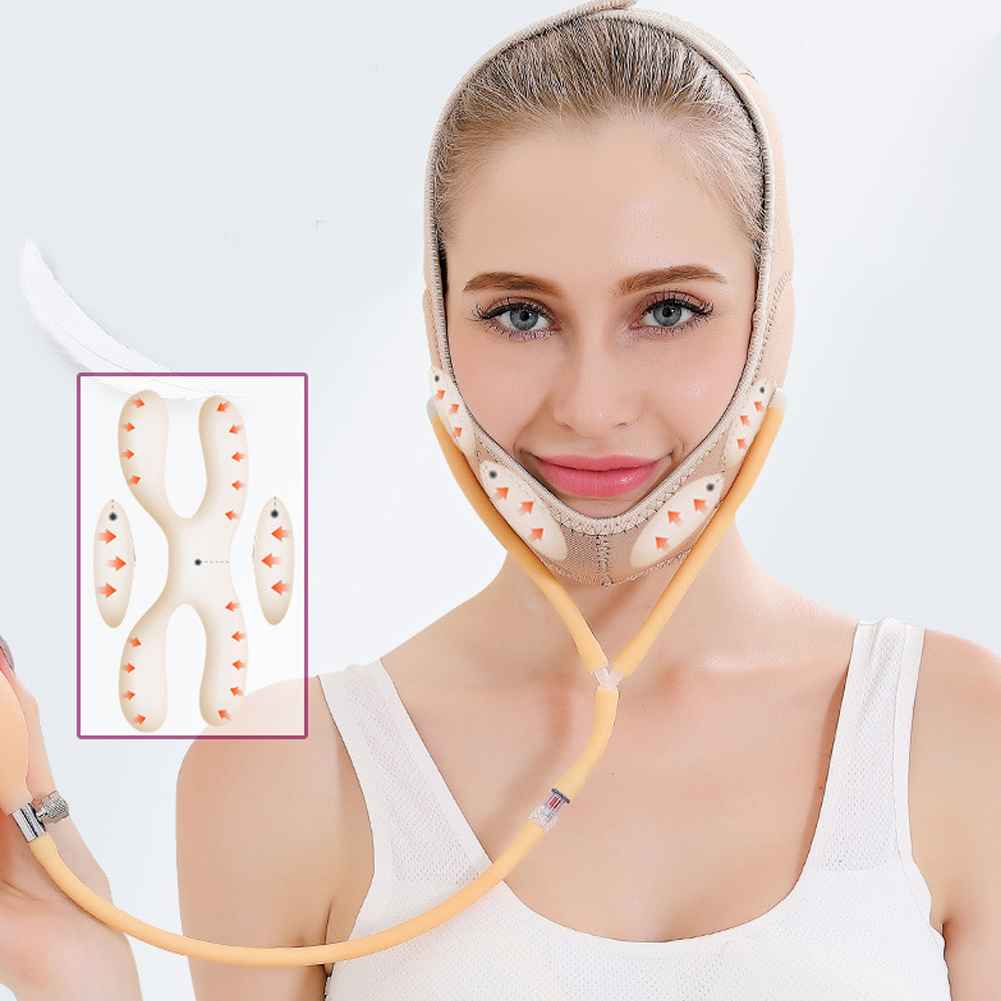 Air Press Lift Up Belt Face-Lift Mask Massager V-Line Cheek Chin Slimming Belt Face Shaper фото