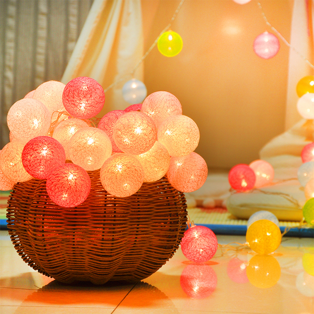 Room Decoration LED Garland Cotton String Balls Lights DIA 6CM Cotton Ball Light Chain Guirlande Fairy LED Lights Birthday Gifts Party Decoration фото
