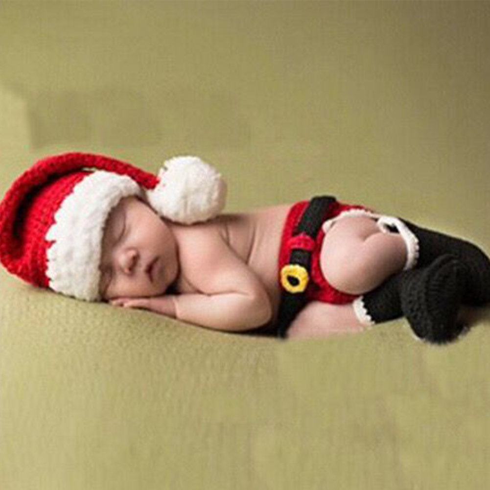 Cute Newborn Baby Photography Christmas Props Baby Hat Baby Cap Girl Boy Clothes Newborn Crochet Outfits фото