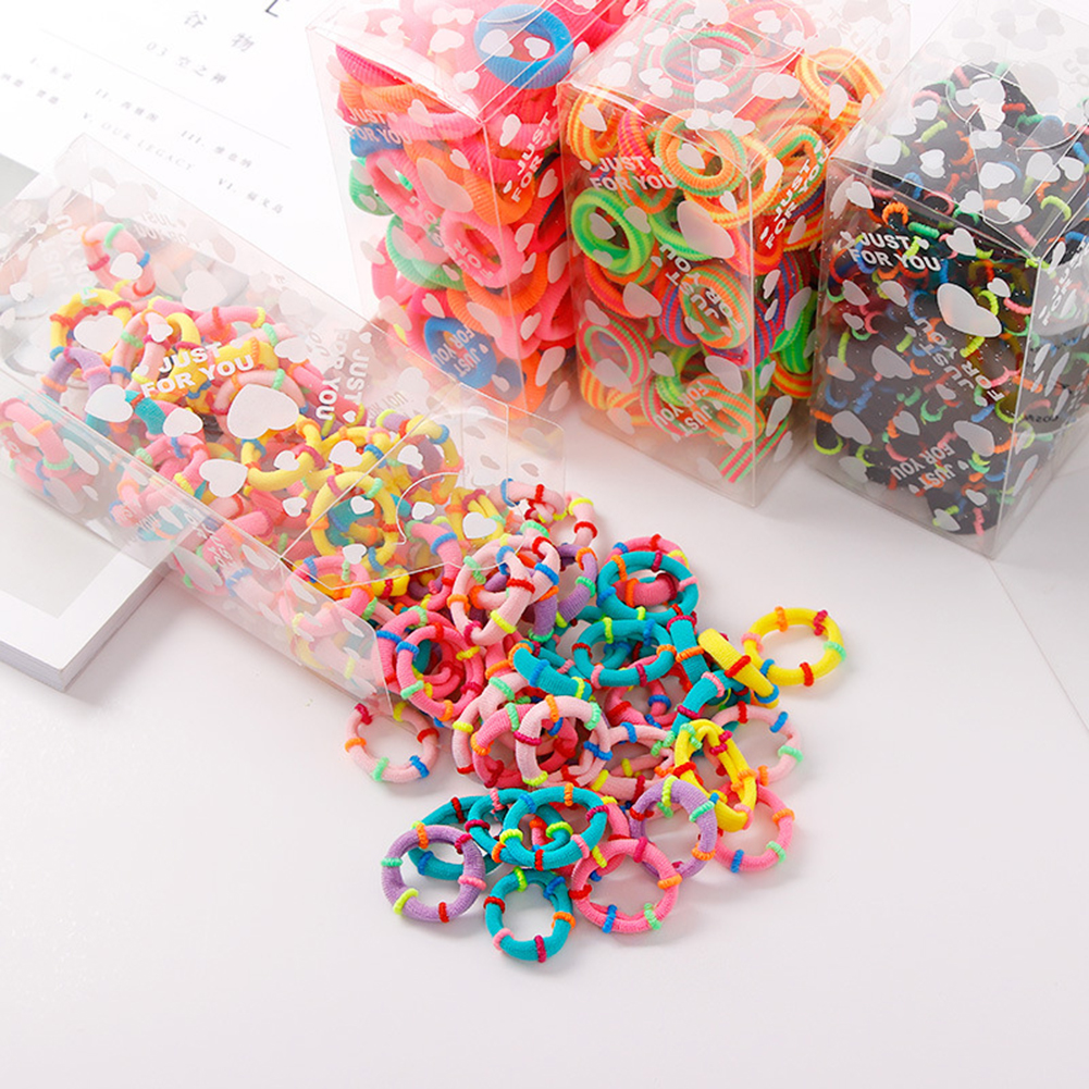 Women Girls' Elastic Towel Hair Band 100pcs/pack 3cm Colorful Hair Ties Ropes Scrunchy Ponytail Rubberbands Ring Gum Accesorios фото