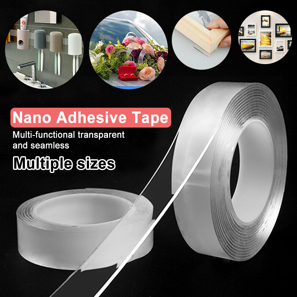 Reusable Double-Sided Adhesive Nano Tape Washable Traceless Removable Sticker Invisible Gel Tape 1/2/3/5m фото