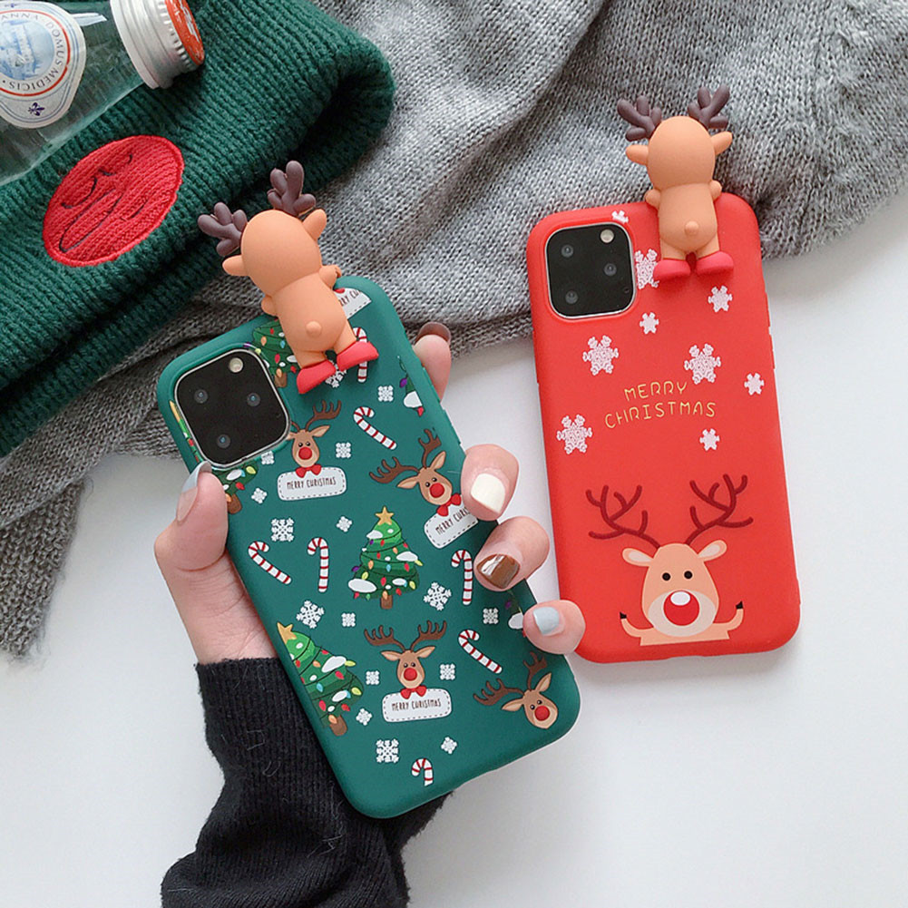 Merry Christmas Couples Phone Case For iPhone 11 Pro Max Cartoon Snowman & deer Soft Back Cover Cases