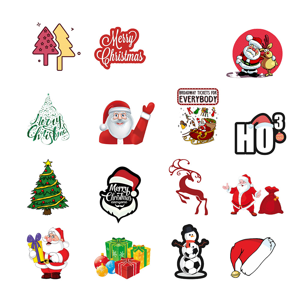 50 Pcs/Set Christmas Theme Non-repeating Skateboarding Car Motorcycle Waterproof Stickers фото