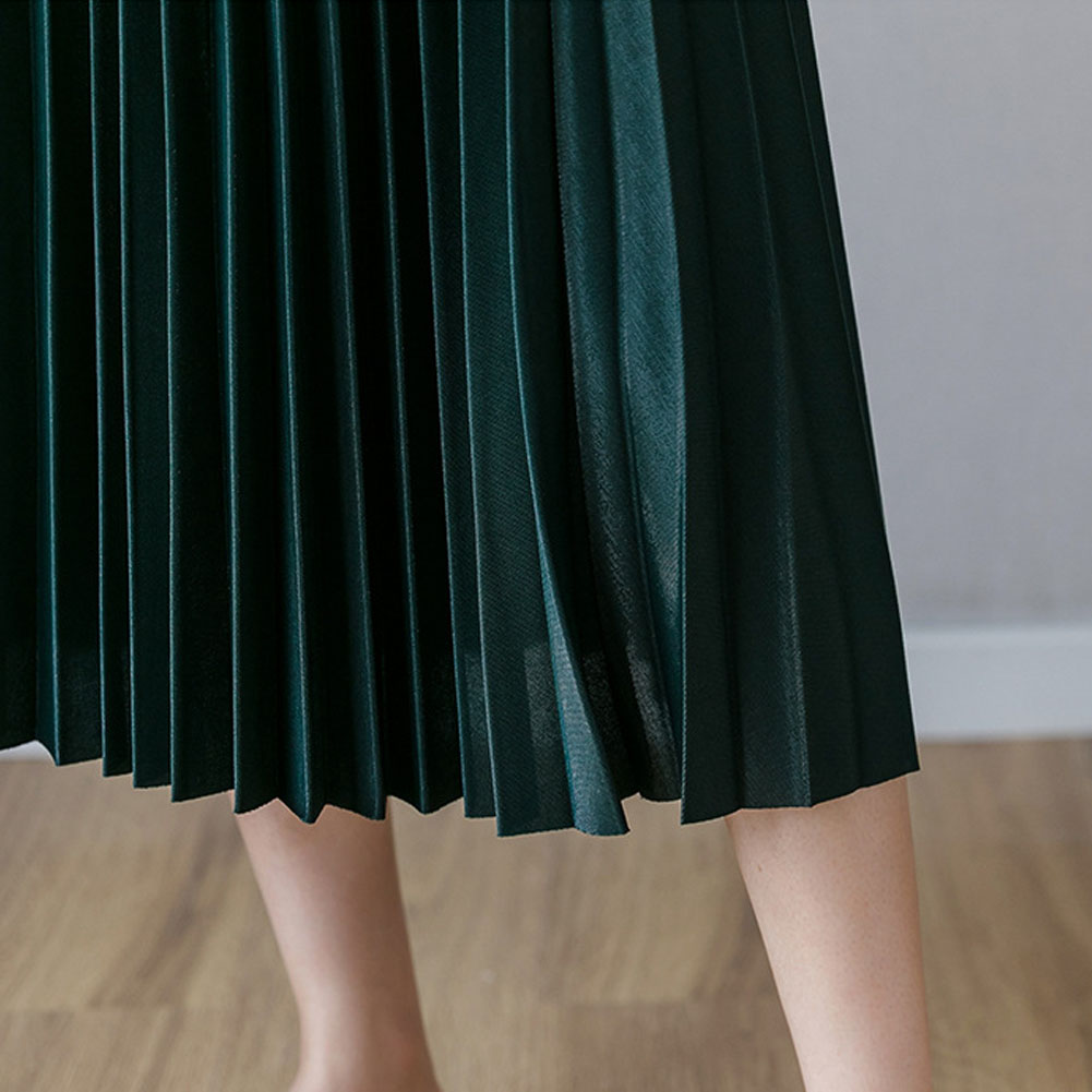 Women Autumn Winter Long Pleated Suede Skirt Lady Two Layer Vintage Midi Skirt фото