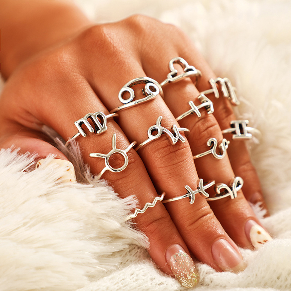 12/Set Simple Retro 12 Constellation Knuckle Ring Zodiac Sign Jewelry Gift