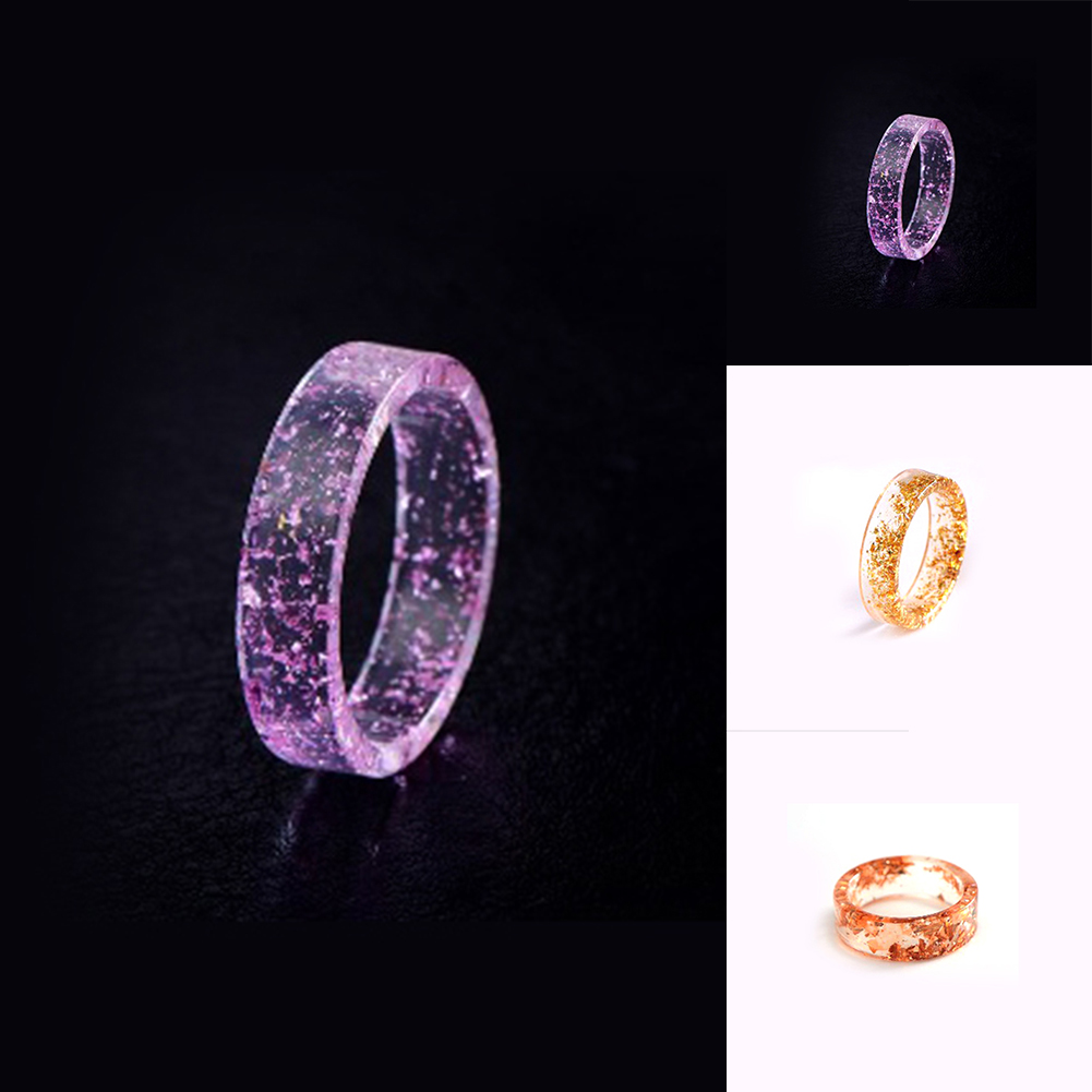 Resin Ring Transparent Epoxy Fashion Handmade Gold Foil Inside Romantic Gifts фото