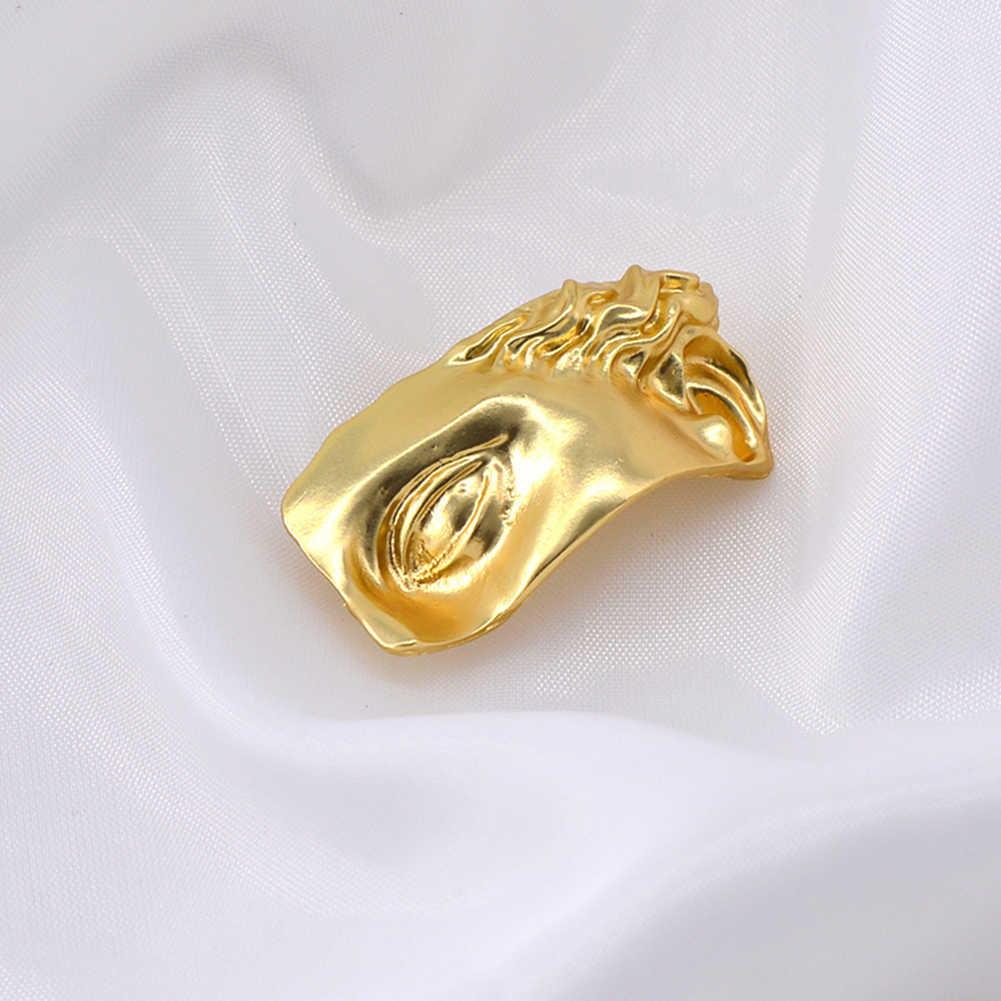 Fashion Vintage Metal Abstract Face Mask Gold Color Brooch Women Jewelry Accessories