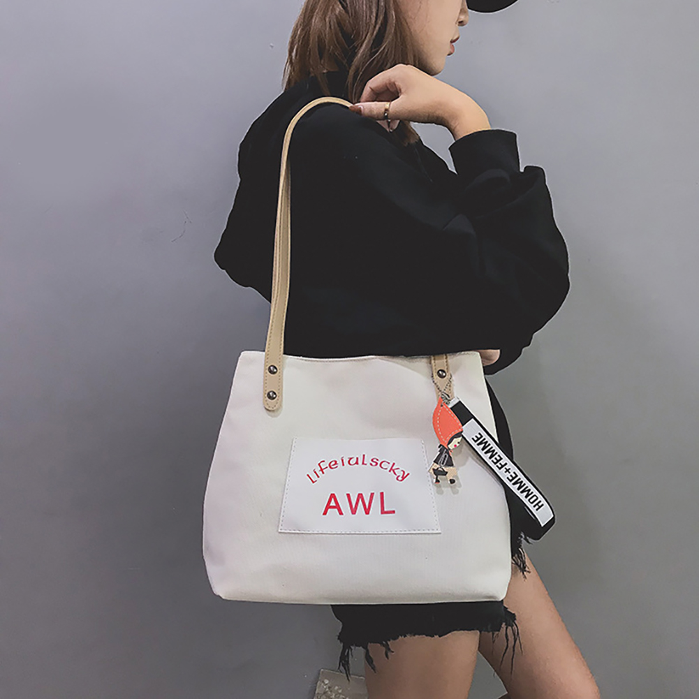 Fashion Women Canvas Handbags Student Messenger Bag Large Capacity Single Shoulder Bag
