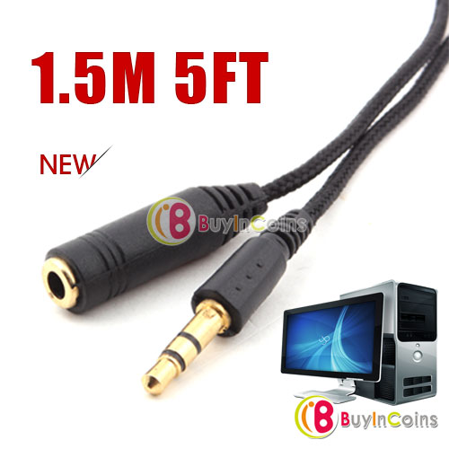 2 x 1.5m 5ft Stereo Headphone Extension Cord 3.5mm Cable фото