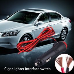 Universal Switch 12V Male Car Cigarette Lighter Socket Plug Connector On  Off Switch 1.5m
