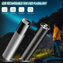 USB Rechargable Mini LED Flashlight Waterproof Torch Telescopic Zoomable Portable Torch for Night Lighting