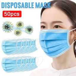 50Pcs/Pack Disposable Face Mask 3-Ply Anti Dust Mouth Mask Ear Loop