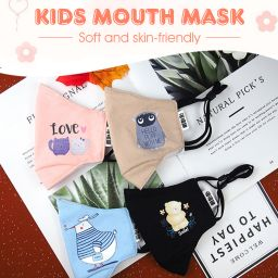 Kids PM2.5 Cartoon Print Mouth Mask Children Dustproof Anti-Haze Cotton Face Mask with 1PC Filter Paper
