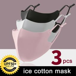 3 PCS Ice Silk Masks Washable Anti Dust Filter Mouth Face Mask for Adults