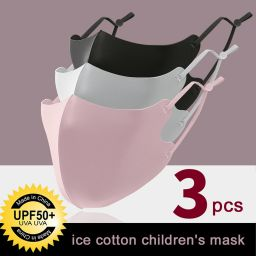 3 PCS Ice Silk Masks Washable Anti Dust Filter Mouth Face Mask for Kids
