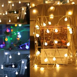 LED Lights String with White Ball Fairy Garland Lights Home Garden Party Decoration Lights