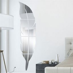 Modern Feather Mirror Wall Sticker Removable Decal Art Mural Wallpaper Home Room DIY Decor