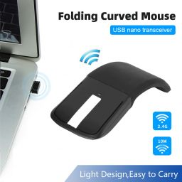 Foldable Wireless Computer Mouse Arc Touch Mice Slim Optical Gaming Folding Mause With USB Receiver