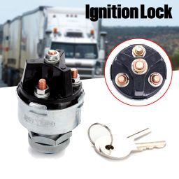 Universal Ignition Key Switch Lock Flush Mount 3 Position OFF ON Start With 2-Key for Tractor Car Truck Tools