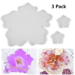 3 Pack Flower Silicone Tray Resin Molds, 1 Large + 2 Small Coaster Moulds, DIY Epoxy Resin Molds for DIY Casting Making, Home Decoration