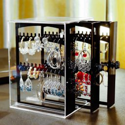 Transparent Acrylic Necklace Bracelet Earrings Display Organizer Jewelry Dust Proof Storage Box